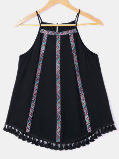 Tassel Zigzag Cuello Babero Sin Mangas - Negro Xl