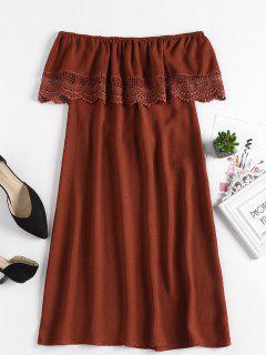 Crochet Panel Off Shoulder Dress - Chestnut Red M