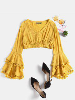 Tiered Sleeve Plunge Blouse - Yellow S