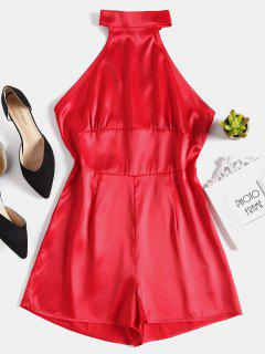 Open Back Halter Neck Romper - Red S