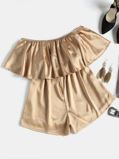 Flounce Strapless Satin Romper - Light Coffee L