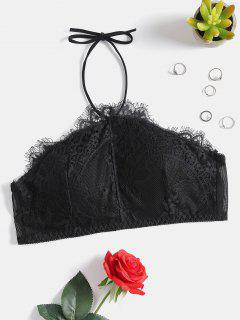 Lace Halter Top - Black