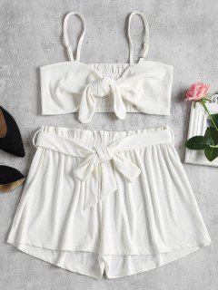 Smocked Back Tie Front Set - White L