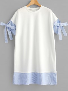 Striped Patched Shift Dress - White S