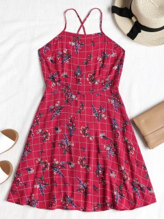 Floral Checked Backless Cami Dress - Rose Red L