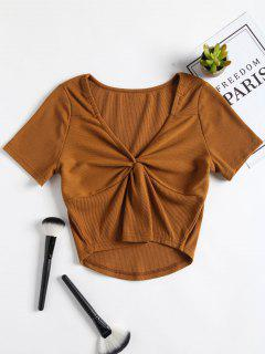 Ribbed Twist Top - Light Brown S