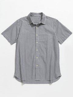 Button Up Striped Short Sleeve Shirt - Black M