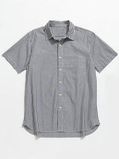 Button Up Striped Short Sleeve Shirt - Black Xl
