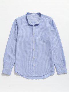 Striped Pocket Button Up Shirt - Baby Blue L