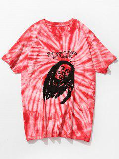 Tie Dye Printed Short Sleeve T-shirt - Red Xl