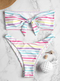Striped Bandeau Thong Bikini - Light Pink L