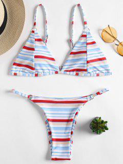 Gestreifter Tanga String Bikini Set - Multi L