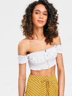 Shirred Cropped Off The Shoulder Top - White M