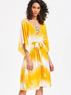 Lattice Low Cut Casual Dress - Yellow S