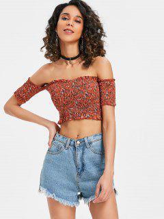 Floral Shirred Off Shoulder Top - Shocking Orange S