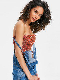 Ruffle Shirred Tiny Floral Tube Top - Shocking Orange S