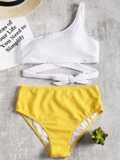 Eine Schulter Zweifarbiger Bikini - Gelb L