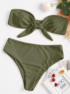 Ensemble Bikini Bandeau Avec Nœud Sur Le Devant - Vert Camouflage M