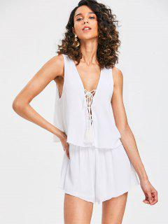 Plunge Lace-up Sleeveless Romper - Milk White S