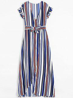 Stripe High Slit Surplice Maxi Dress - Blue M