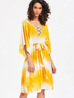 Lattice Low Cut Casual Dress - Yellow Xl