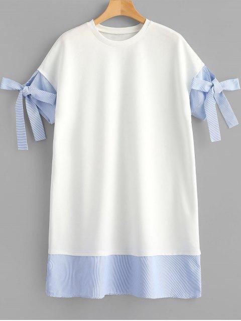 Vestido recto a rayas - Blanco L Mobile