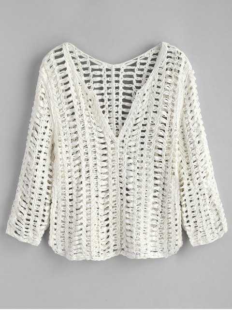 hot Chunky Long Sleeve Crochet Top - WHITE ONE SIZE Mobile