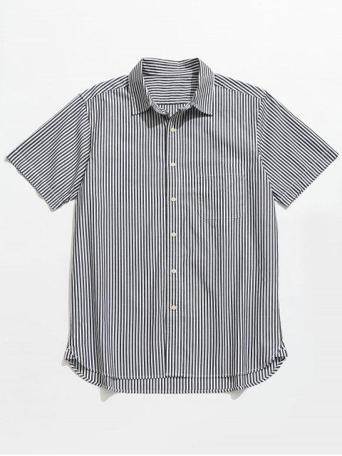 buy Button Up Striped Short Sleeve Shirt - BLACK 2XL Mobile