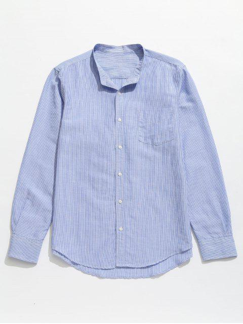 women Striped Pocket Button Up Shirt - BABY BLUE M Mobile
