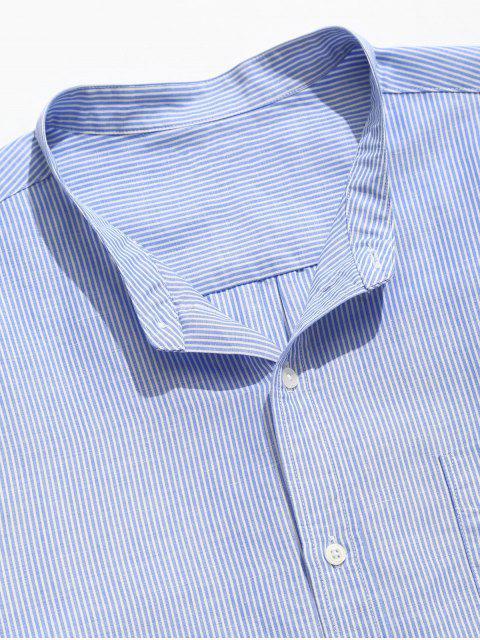 Camisa con botones de bolsillo a rayas - Azul Claro 3XL Mobile