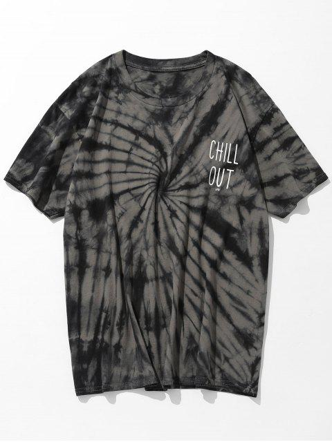 Camiseta estampada con efecto tie dye de manga corta - Gris Pardo 3XL Mobile