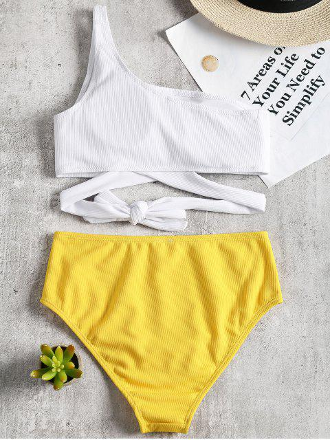 hot One Shoulder Two Tone Bikini Set - YELLOW L Mobile