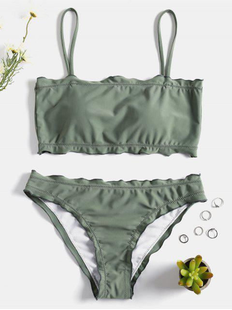 trendy Lettuce Trim Cami Bikini Set - FROG GREEN M Mobile