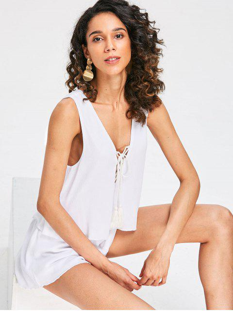 online Plunge Lace-up Sleeveless Romper - MILK WHITE M Mobile