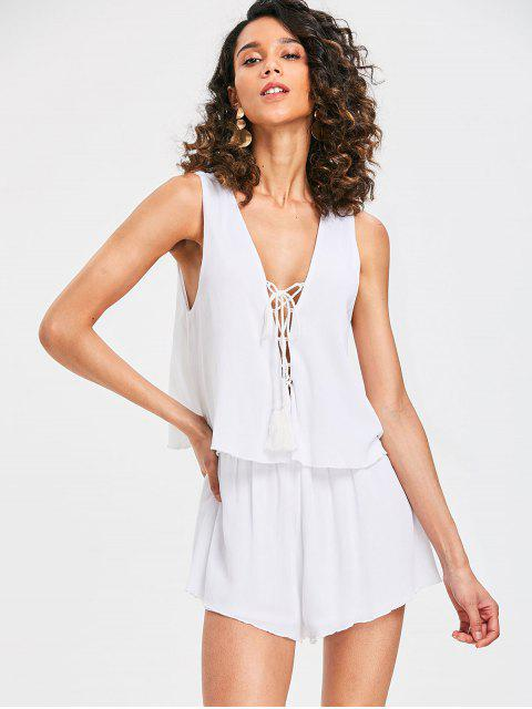 new Plunge Lace-up Sleeveless Romper - MILK WHITE L Mobile