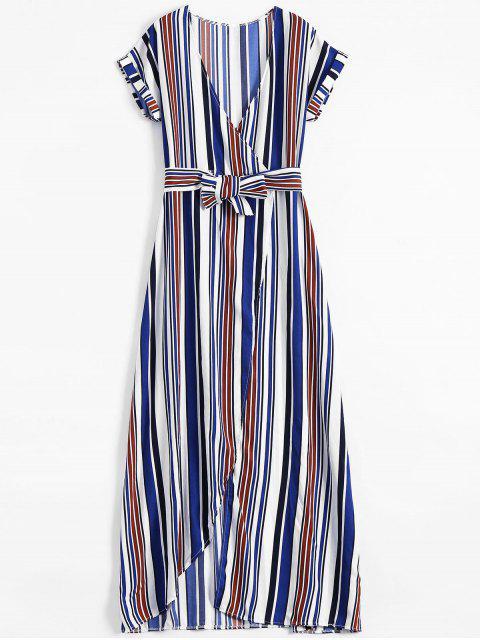 Maxi Vestido a Rayas con Escote de Plegado Oblicuo con Abertura Lateral Alta - Azul M Mobile