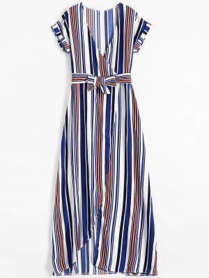 Streifen hoher Schlitz Chorhemd Maxi Kleid