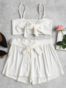 Smocked Back Tie Front Set - Blanco S