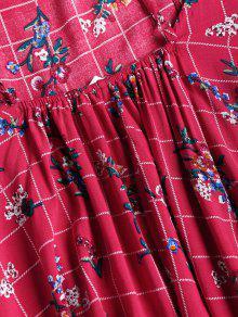 Rosa Espalda Roja Camisero Sin Floral Vestido S Con Estampado nEYqwWC6