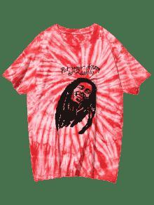 Tie 3xl Dye Estampada Camiseta Rojo Manga Corta Cxzvq