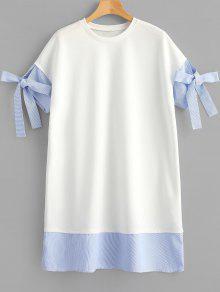 فستان مستقيم مخطط مرقع - أبيض L