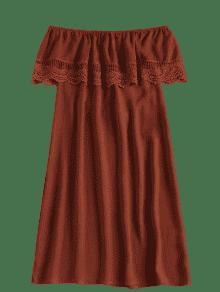 Hombro Con De De Rojo Panel Casta Ganchillo Vestido S o ax5RR