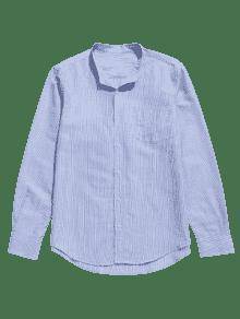 De Con Rayas A M Camisa Azul Botones Bolsillo Claro gOFFEx
