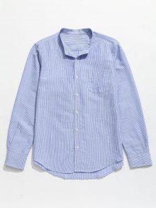 مخطط جيب زر حتى القميص - ازرق فاتح 3xl