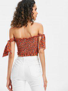 6fbf0f3a16a497 21% OFF] 2019 Tie Smocked Floral Off Shoulder Top In SHOCKING ORANGE ...