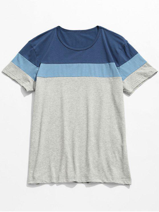 shops Contrast Color Block Short Sleeve Tee - BLUE 3XL