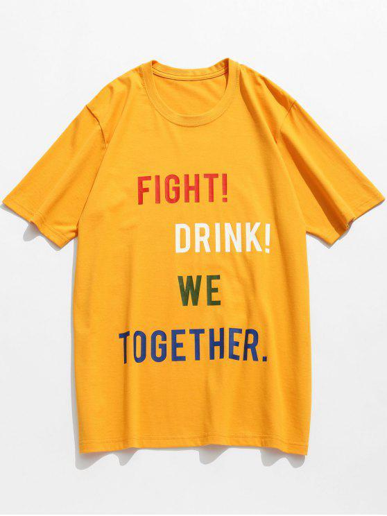 T-Shirt Di Cotone Con Motivo A Lettera Slogan - Senape 3XL