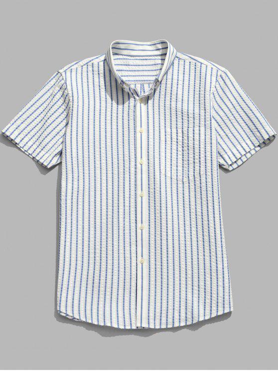 Camisa de algodão de manga curta listrada - Azul de Céu Claro 3XL