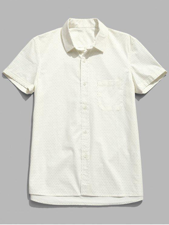 Kurzärmliges Polka Punkt Baumwolle Shirt - Sahne XL