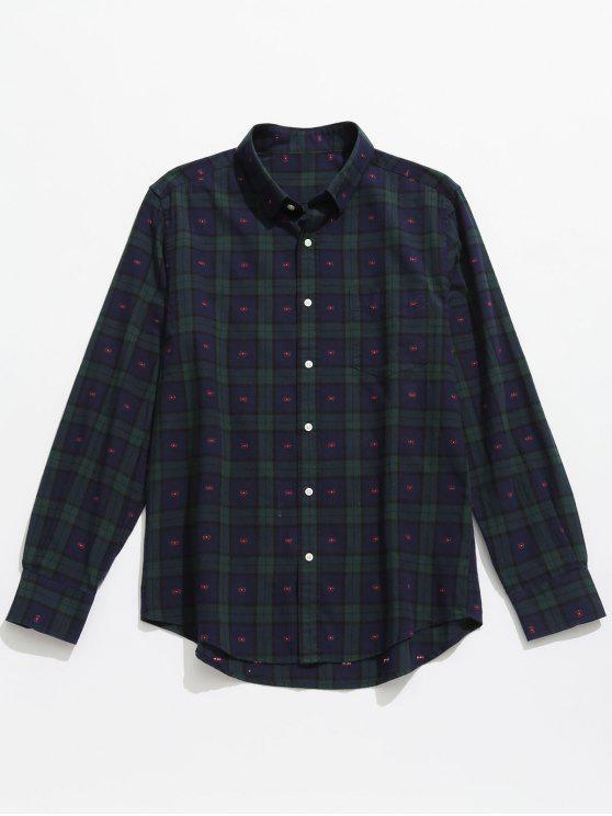قميص مربع النقش بأكمام طويلة - ازرق غامق M